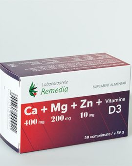 Ca+Mg+Zn+vitamina D3 20 doze Remedia 20